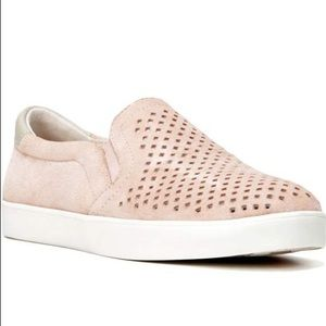 Blush Light Pink Perforated Suede Slip On Sneakers